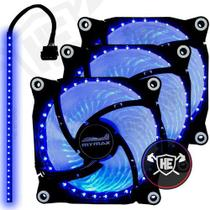 Kit 3 Cooler Fan Azul 32 Led 120mm Gabinete Pc Gamer + Fita Led Pro - Mymax