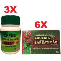 Kit 3 Creme Seca Espinhas Acne Manchas + 6 Sabonete Barbatimão e Aroeira - Bionature