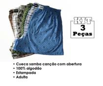 Kit 3 Cueca Samba Canção Plus Size Grande Confortável - Taurus