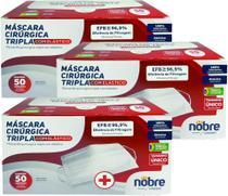 Kit 3 cxs 50 un p/ cx máscara cirúrgica tripla nobre com filtro bacteriológica e clipe nasal anvisa -