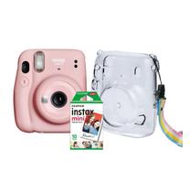 Kit 3 em 1 Câmera Fujifilm Instax Mini 11 Rosa + Bolsa + 10 Fotos -
