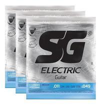 Kit 3 Encordoamento Cordas Guitarra 011 Sg 5160 -