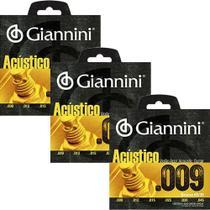 Kit 3 Encordoamento Giannini Violão Aço Acustico Geswal -