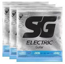 Kit 3 Encordoamento Guitarra 009 - Sg 5145 + Palheta -