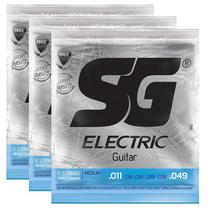 Kit 3 Encordoamento Guitarra 011 - Sg 5160 + Palheta -