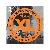 Kit 3 Encordoamento Guitarra Daddario 010 Exl110 - Daddario