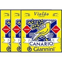 Kit 3 Encordoamento Violão Nylon Média Canário Cristal GENW - Giannini