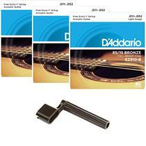 Kit 3 Encordoamentos Daddario Violão .011 EZ910 Encordoador -