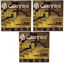 Kit 3 Encordoamentos Giannini Cobra Tensão Leve Cebolão Mi -