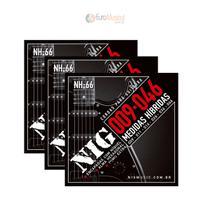Kit 3 Encordoamentos Guitarra Nig NH66 Hibrida .009 .046 -