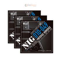 Kit 3 Encordoamentos Guitarra Nig NH67 Hibrida .010 .049 -