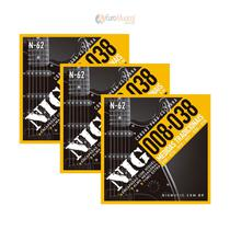 Kit 3 Encordoamentos Guitarra Nig Tradicional .008/.038 N62 -
