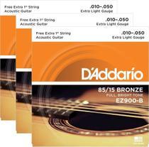 Kit 3 Encordoamentos Violao Aco Daddario Ez900 010 -