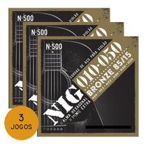 Kit 3 Encordoamentos Violão Aço Nig Bronze 010/.050 N500 - Nig strings