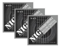 Kit 3 Encordoamentos Violão Nylon Nig N475 Tensão Média -