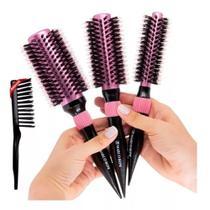 Kit 3 escovas profissionais termicas rosé pmg e limpador de escovas marco boni -