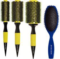 Kit 3 Escovas Thermal Ceramic Premium + Escova Mega Hair Oval Marco Boni -