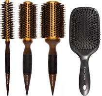 Kit 3 Escovas Thermal Metallic Top Gold + Escova Raquete Hairstyle Marco Boni -