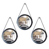 Kit 3 espelhos adnet redondo com alça de couro banheiro para quarto de parede retro novo 28 cm preto - Houseria