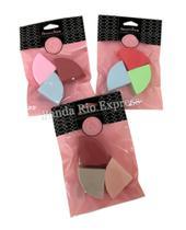 Kit 3 Esponjas Faciais De Maquiagem Triangular Base Corretivo Diversas Cores - Venus State