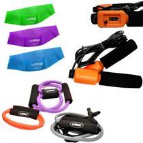 Kit 3 Extensores Tensao Media + Corda de Pular + 3 Mini Bands  Liveup -