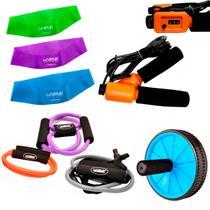 Kit 3 Extensores Tensao Media + Corda de Pular + 3 Mini Bands + Roda Abdominal  Liveup -