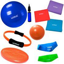 Kit 3 Faixas Elasticas + Bola 65 Cm + Mini Bomba + 2 Mini Bands + Overball + Arco e Disco  Liveup -