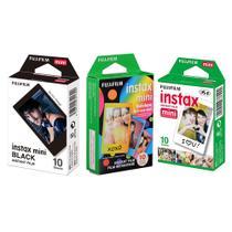 Kit 3 Filmes instantâneos Fujifilm: Black 10 + Rainbow 10 + Borda branca 10 poses -