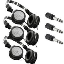 Kit 3 Fones de Ouvido Profissional AKG K414P Dobrável Para Retorno de Palco + Adaptadores P2 Fêmea x P10 Macho Estéreo -
