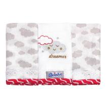 Kit 3 Fraldas de Boca Minasrey Alvinha Nuvens Cinza -