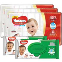 KIT 3 FRALDAS HUGGIES SUPREME CARE M + 2 TOALHAS HUGGIES  VERDE 48 un -