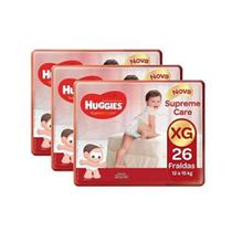 Kit 3 fraldas huggies supreme care tam-xg - 12 a 15kg - 78 unidades -