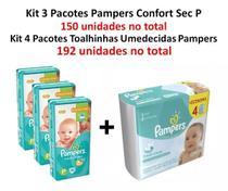 Kit 3 Fraldas Pampers Confort Sec + 4 Lenços Fresh Clean P Revenda -
