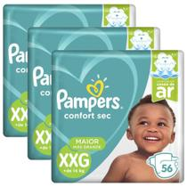 Kit 3 Fraldas Pampers Confort Sec Super Tam XXG 56 Tiras