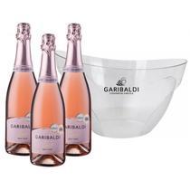Kit 3 Garibaldi Vero Brut Rosé 750ml + 1 Balde de Gelo Personalizado -