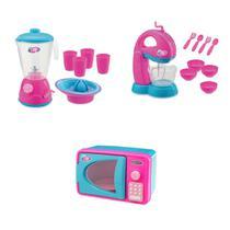 Kit 3 itens brinquedos infantis de cozinha batedeira , liquidificador e micro-ondas com som e luz -