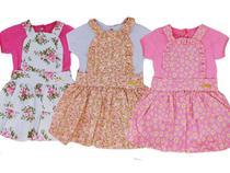 Kit 3 Jardineiras de Bebe Menina + Blusinha 3 a 6 Meses - Piftpaft