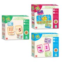 Kit 3 Jogos Educativo Madeira Matemática Números Soletrando - Nig