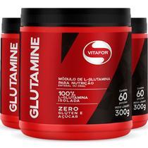 Kit 3 L-Glutamina  Glutamine Vitafor 300G -