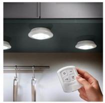 Kit 3 Lampadas Luminaria Led Armario Quarto Escada Closet Gaveta Espelho Corredor Spot Remoto 15w Controle Sem Fio - Luz