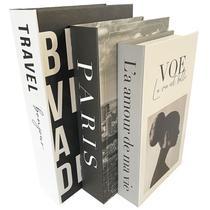 Kit 3 Livros Porta Objetos Enfeite Caixa Organizadora Sala - Prime