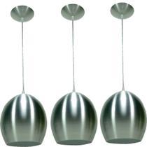 Kit 3 Luminárias Pendente Bola Pequena Prata - Mak-Luz