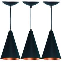 Kit 3 lustres pendente cone em aluminio preto fosco ecobre - As Luminarias