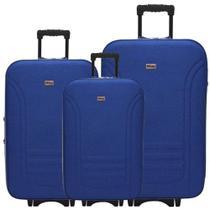 Kit 3 Malas De Viagem Jogo Conjunto Pequena Média Grande Com Rodinha Importway Azul -