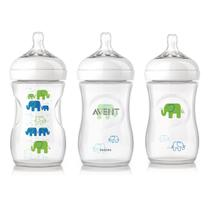 Kit 3 Mamadeiras Avent Petala 260ml Transparente Elefante - Philips