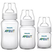 Kit 3 Mamadeiras Classic 125 260 e 330ml Anticolica Avent