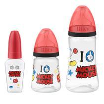 Kit 3 Mamadeiras Design 50/180/300ml Disney Mickey - Lillo -