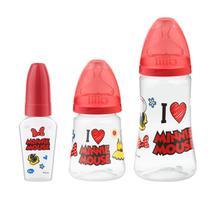 Kit 3 Mamadeiras Design 50/180/300ml Disney Minnie - Lillo -