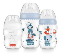 Kit 3 Mamadeiras First Moments 150/270/330ml Fisher Price Azul -