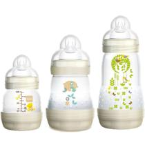 Kit 3 Mamadeiras Mam First Bottle Bege 130ml+160ml+260ml